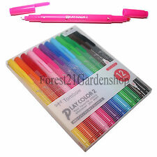 Tombow Play Color 2 Both-Twin Tip Felt Drawing Water Based Marking Pen 12 Colors