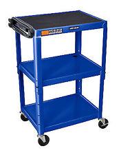 "Luxor Avj42-rb Adjustable Height Steel Cart 42"" H Table Royal Blue"