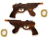 2 WOODEN MACHINE GUN ELASTIC RUBBER BAND SHOOTER boys toy army military toys new