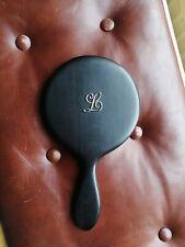 BEAUTIFUL Antique Hand Mirror Victorian Ebony Wood  Vintage Vanity LETTER L Name