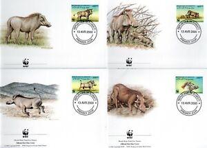 Djibouti 2000 WWF Eritrean Warthog set of 4 FDC