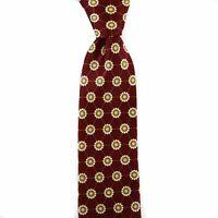 $295 New SANTOSTEFANO Maroon Yellow White 100% Silk Neck Tie Made in Italy