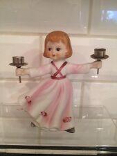 Vintage 1979 Verona Vergasi Porcelain Bisque Girl Pink Dress Cake Topper