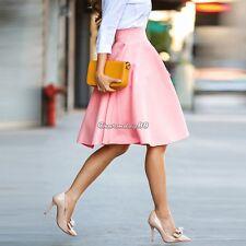 Women Vintage Hepburn Style High Waist Swing A-Line Pleated Ball Gown Midi Skirt