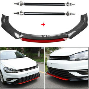 For VW Golf Carbon Fiber and Red Front Bumper Lip Splitter Spoiler + Rod Strut