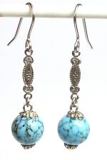 Vintage 1930s turquoise Murano glass bead earrings - to match art deco necklaces