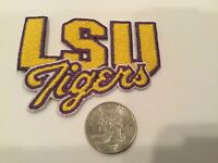 "LSU TIGERS vintage iron on embroidered patch 3"" X 2"""