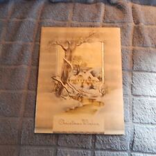 Vintage Christmas Card, Unmarked 701, Silver Foil Layer Gray tones, Snow Cottage