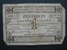 Netherlands 1916 1 Gulden Zilverbon (silverbond) banknote, P.8