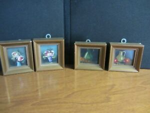 Four Miniature oil paintings (doll house size)
