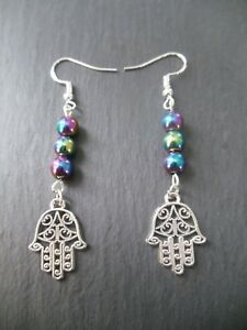 Hamsa Hand Earrings 925 Sterling Silver Hooks Rainbow Hematite Base Chakra Gift