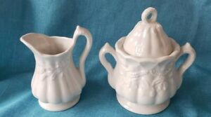 Vintage RED CLIFF White Wheat Floral Pitcher Creamer & Large Sugar Bowl with Lid
