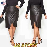 Plus Size Women Fashion Faux Leather Pencil Stretch Wrap Midi Skirt  Dress US