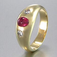 RING - Rubin ca 0,05ct - 2 Brillanten ca. 0,10 ct - W-si - 14K Gelbgold - 5,1 g