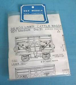 Bagged D & S 4mm Scale White Metal Kit DS405 LNWR 10T Medium Cattle Wagon dia 21