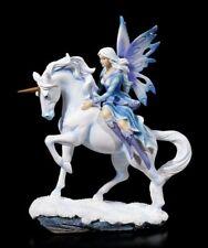 Elfen Figur mit Schmucksteinen - Dialya reitet auf Einhorn - Fantasy Pferd Deko