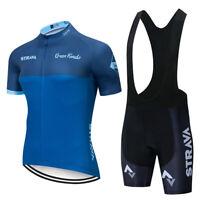 Summer Blue Mens Cycling Jersey Bib Short Set Blue Color Mens Cycling Jersey set