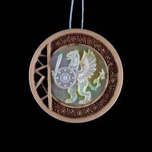 Carved Griffin MOP Designer Bead GM026009