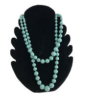 Vintage Faux Turquoise Necklace Hong Kong Double Strand Graduated Beads