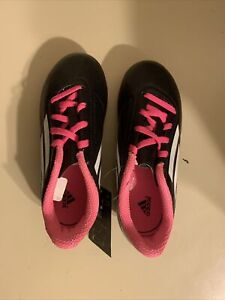 Adudas Youth Size 1 Conquisto Black, pink & White Cleats ART B25594