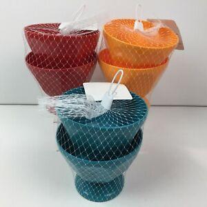 Red Orange Blue Kitchen Set of 6 Plastic Ice Cream Sundae Bowls Dessert Pool BBQ