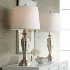 Modern Table Lamps Set of 2 Brushed Steel for Living Room Bedroom Bedside Office