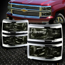 For 14-15 Chevy Silverado 1500 Smoked Housing Clear Corner Headlight Head Lamps