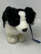 """Keel Toys Deluxe Border Collie Puppy Dog on Lead 11"""" Black White Plush Soft Toy"""