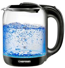 CHEFMAN Cordless Glass Electric Kettle 1.7L Black 7 Cups -Blue Lights