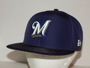 New Era 59Fifty Milwaukee Brewers Flatbill Baseball Hat / Cap Sz 7 1/8 Navy Blue