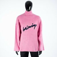 BALENCIAGA 1350$ Crewneck Sweater In Pink Scribble Logo Brushed Cotton Knit