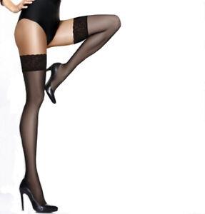 "Ladies Womens Sheer Matt HOLD UPS ""Kleopatra"" 15 Den Silicone Lace Top"