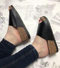 Black Slider Sandals Size 7 Flip Flop Faux Leather Footbed