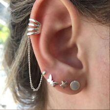 4pcs Butterfly Star Stud Earrings Set Round Vintage Geometric Earring Jewelry