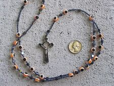 Rosary with Evil Eye and Hematite Beads, Orange - Mexico