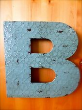"INDUSTRIAL BLUE METAL WALL LETTER ""B"" 20"" TALL rustic vintage decor antique sign"
