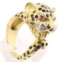 ♦♦750 18kt Diamant Rubin Gold Ring Raubkatze Panther Emaille Diamantring♦♦
