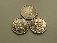 50p Coins Beatrix Potter Set of 3 - Tom Kitten, Benjamin Bunny, Squirrel Nutkin