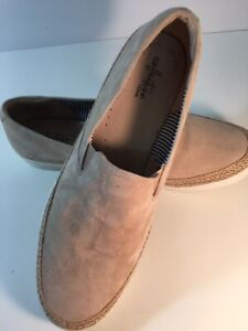 Mens Clarks Collection Slip On Suede Beige Loafers 12 Medium Ultimate Comfort