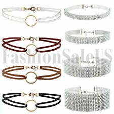 8pcs Women's O-Ring Rhinestone Necklace Choker Collar Silver Wedding Party Chain