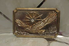 Vintage Belt Buckle EAGLE with Starburst Sun Silver and Gold Tone Metal #46106