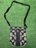 Authentic Coach Classic Print Black Gray Crossbody Purse Bag Fast Free Shipping