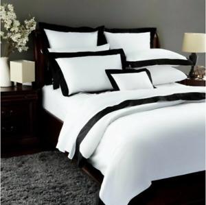 Pratesi Griffe King Sheet Set White Black Egyptian Cotton NEW