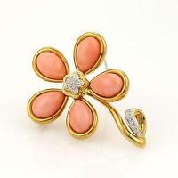 Estate Gump's Diamond & Coral Flower 18k Yellow Gold Pendant Pin Brooch