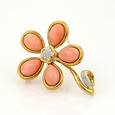 Estate Gump's Diamond & Coral Flower 18k Yellow Gold Pendant Pin Brooch