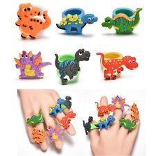 2PC Cartoon Dinosaur Modeling PVC Ring Novelty Rubber Finger Ring Kid Child Gift