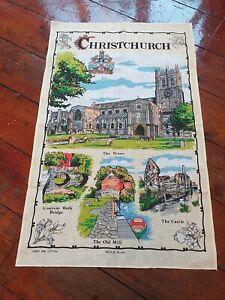 vintage tea towel CHRISTCHURCH LINEN COTTON MIX