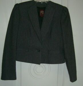 Women's J. Gallery Gray Pin Stripe Long Sleeve Lined Skirt Suit (Size 10/11)