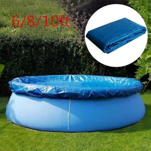 6/8/10FT Round Swimming Pool Cover For Garden Outdoor Paddling Family Pools Blue