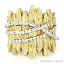 Heavy Ring in 14k Yellow Gold 0.64ct Diamond Right-Hand Fashion Band Wood Design